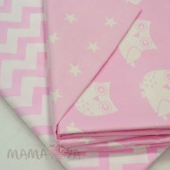 Комплект постельного белья 1682/розовый/совы полутороспальный