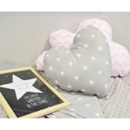 """Подушка """"Сердце серая звезда"""" декоративная в детскую комнату"""