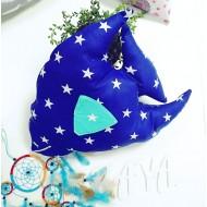 """Подушка декоративная в детскую комнату """"Рыба скалярия"""" синяя в звезды"""