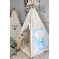 """Вигвам для детей  """"Дружба на полюсе"""" рисунок акварелью с ковриком"""