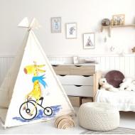 """Вигвам для детей  """"Веселый жираф"""" рисунок акварелью с ковриком"""